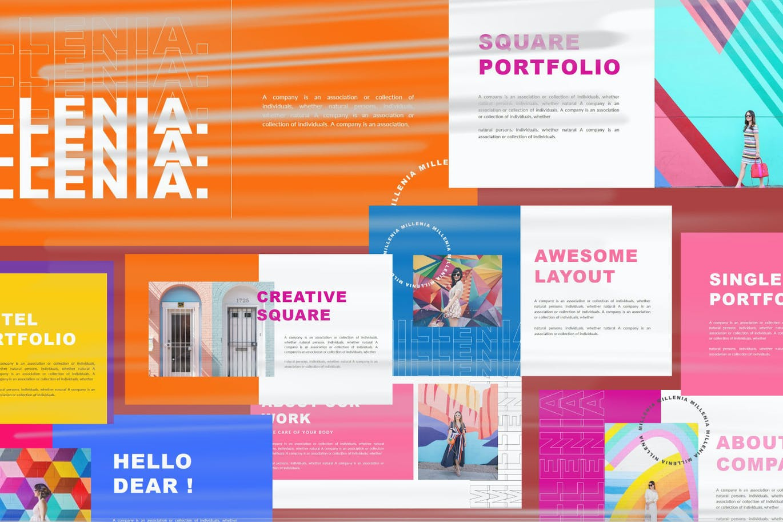 时尚炫彩品牌策划提案简报作品集设计PPT+Keynote模板 Millenia – Fashion PowerPoint Template插图6