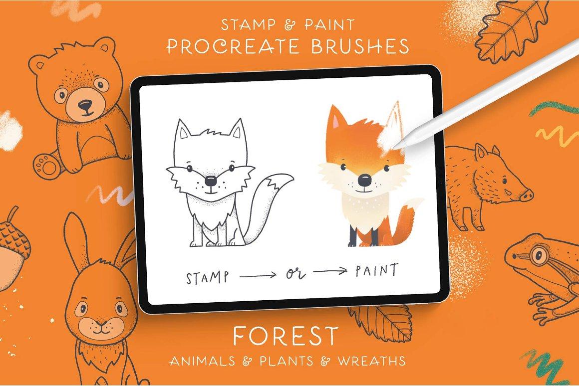 300个点状颗粒花卉动物心形艺术绘画iPad Procreate笔刷字体套装 Procreate Brushes & Font Bundle插图12