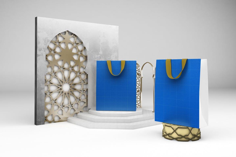 阿拉伯风格购物手提纸袋设计展示样机 Arabic Bag V.1 Mockup插图12