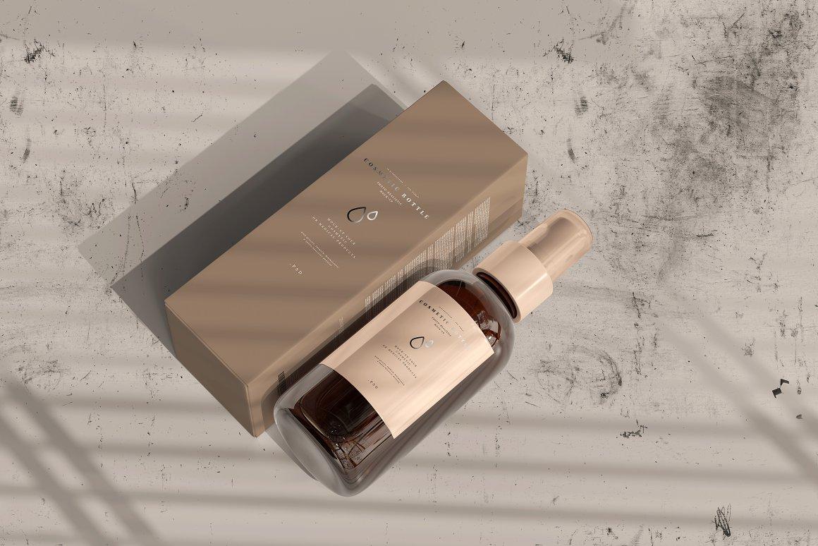 10款琥珀色玻璃化妆品喷雾瓶包装盒设计贴图样机 Amber Cosmetic Spray Bottle Mockup插图