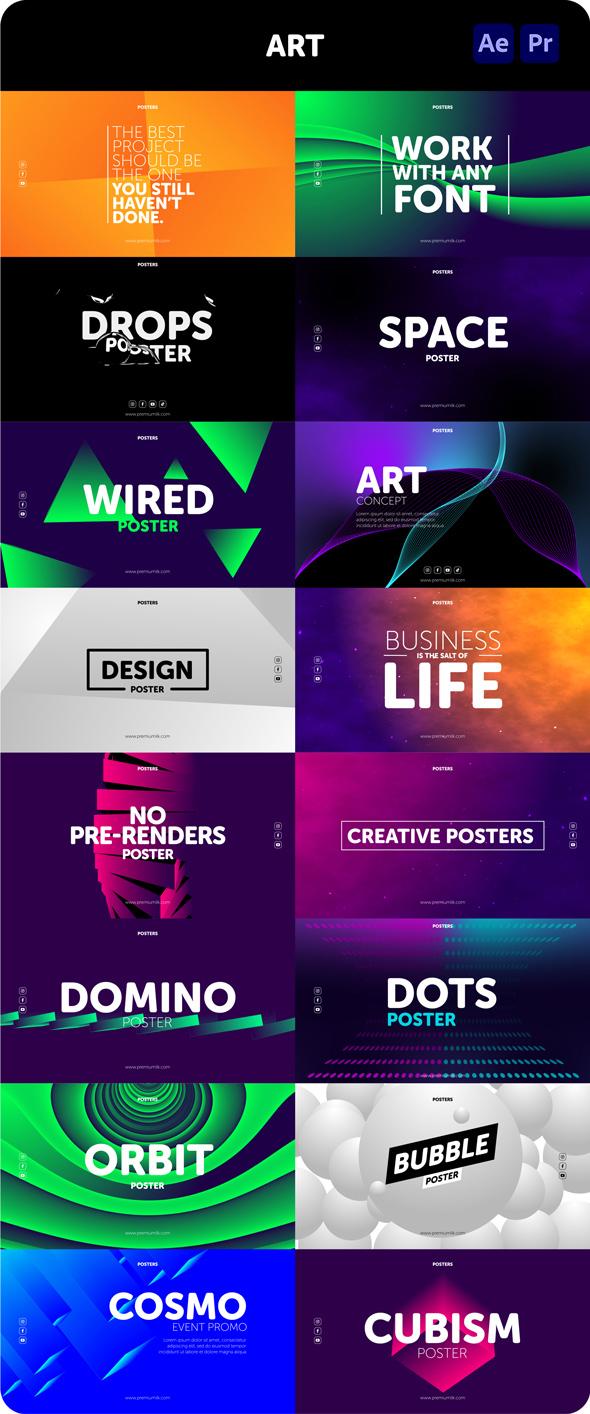 时尚潮流文字排版广告宣传海报包装动画预设AE+PR脚本素材 Videohive – Posters Pack V.7插图14
