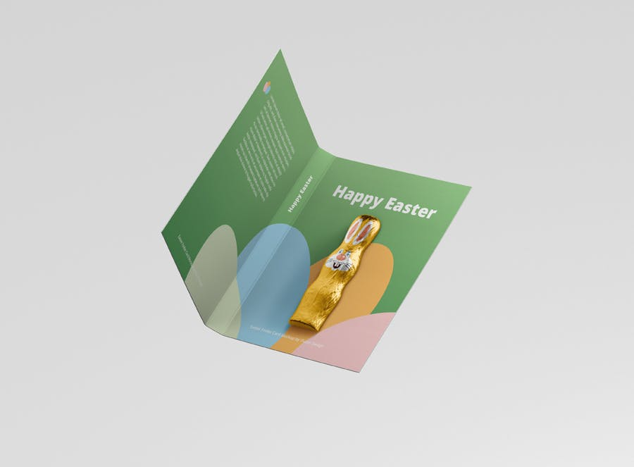 时尚带巧克力文件夹卡片设计样机素材 Easter Folder Card Mockup插图12