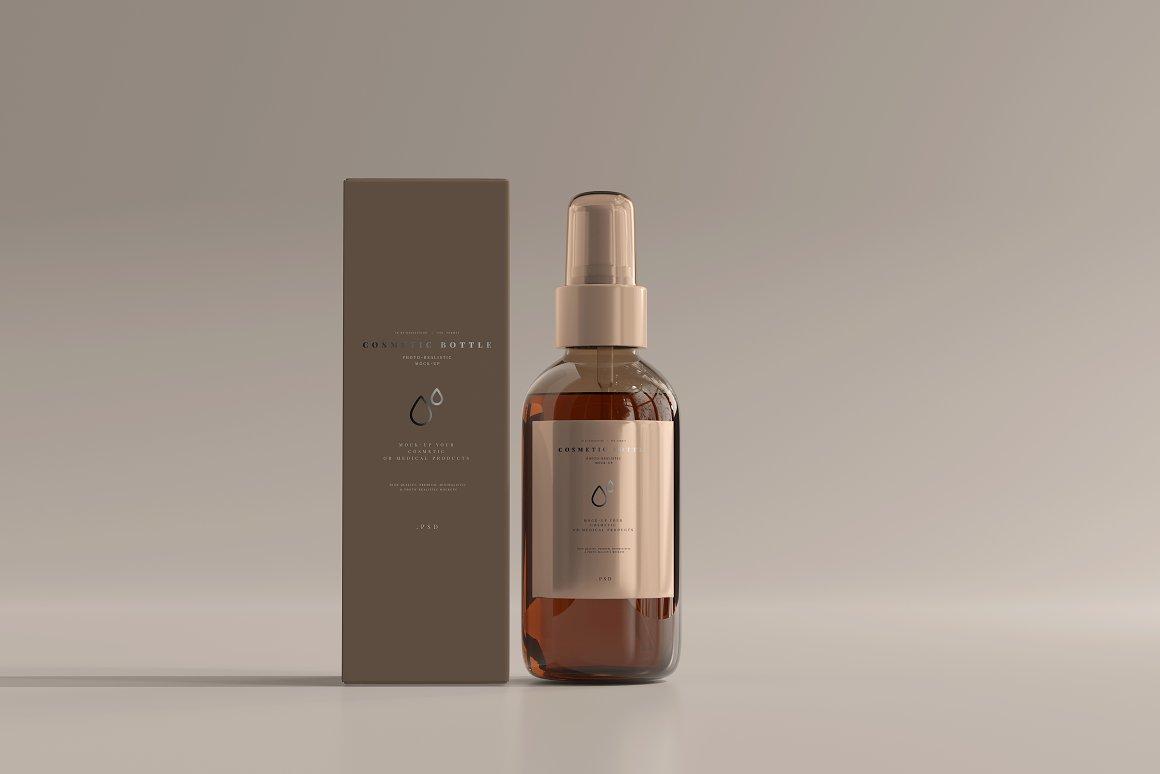 10款琥珀色玻璃化妆品喷雾瓶包装盒设计贴图样机 Amber Cosmetic Spray Bottle Mockup插图1