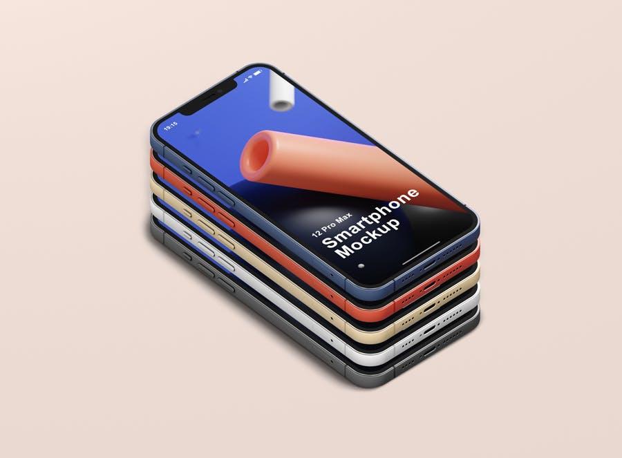 时尚APP界面设计iPhone 12 Pro Max手机屏幕演示样机 Phone 12 Pro Max Mockup插图13