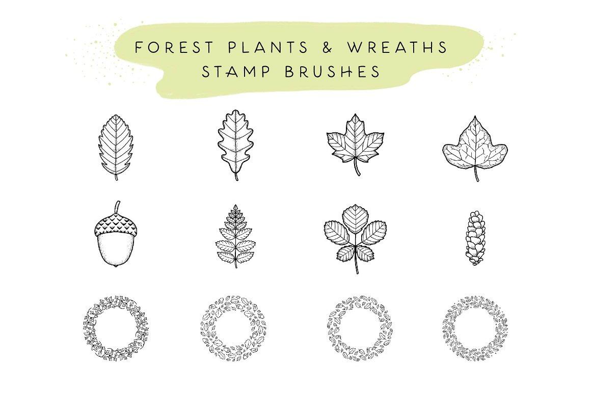 300个点状颗粒花卉动物心形艺术绘画iPad Procreate笔刷字体套装 Procreate Brushes & Font Bundle插图14