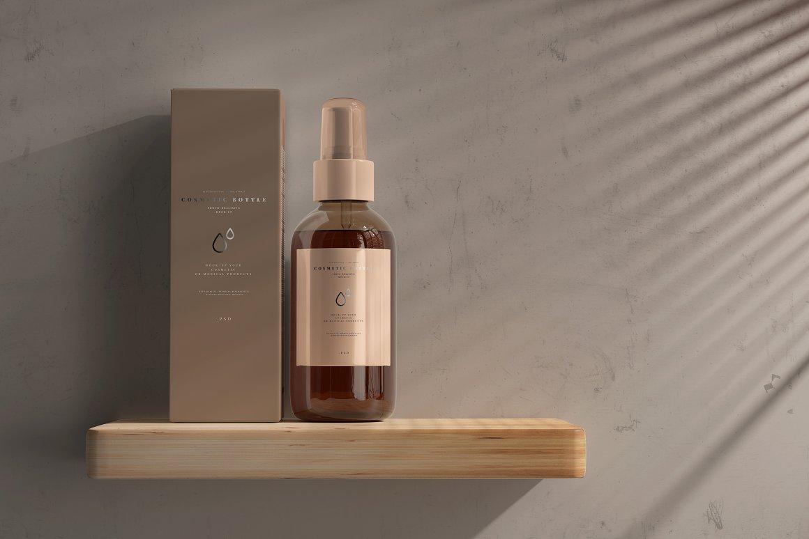 10款琥珀色玻璃化妆品喷雾瓶包装盒设计贴图样机 Amber Cosmetic Spray Bottle Mockup插图2