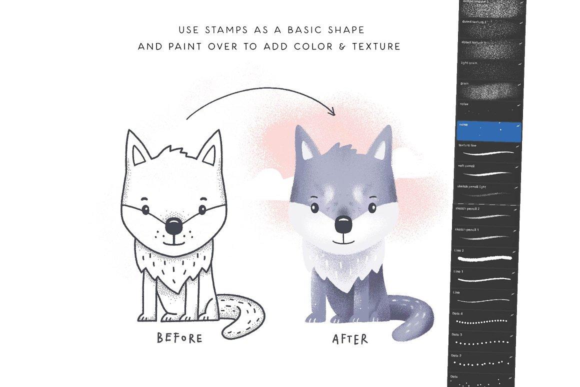 300个点状颗粒花卉动物心形艺术绘画iPad Procreate笔刷字体套装 Procreate Brushes & Font Bundle插图15