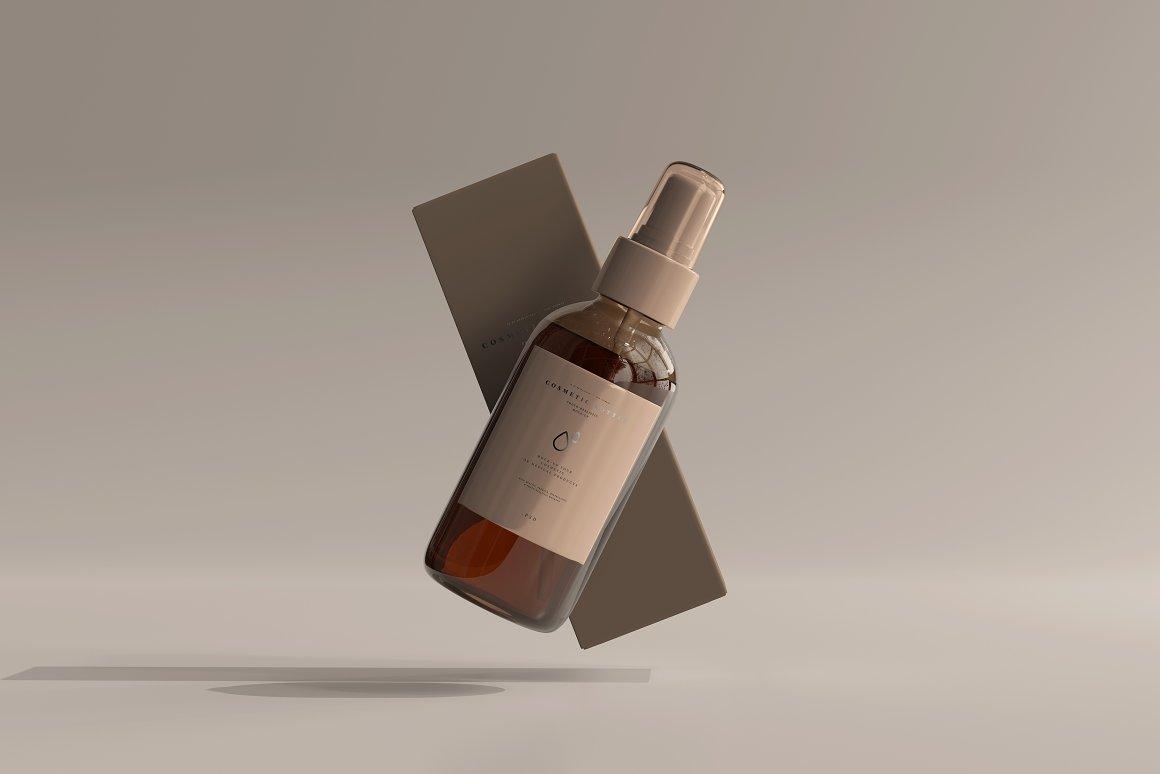 10款琥珀色玻璃化妆品喷雾瓶包装盒设计贴图样机 Amber Cosmetic Spray Bottle Mockup插图3