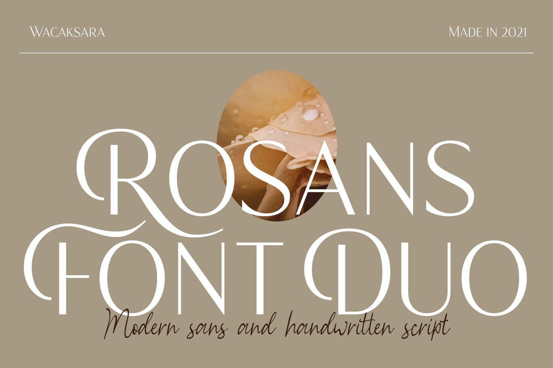 时尚优雅画册杂志标题Logo设计无衬线英文字体素材 Rosans – Font Duo插图