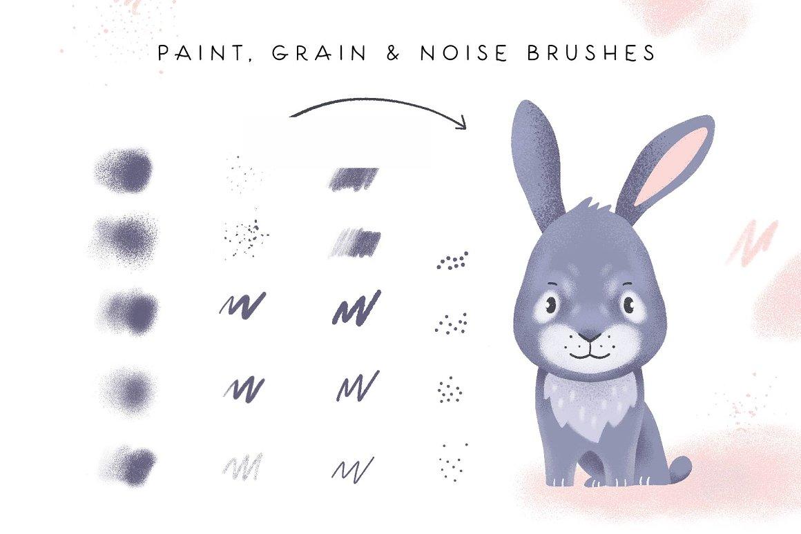 300个点状颗粒花卉动物心形艺术绘画iPad Procreate笔刷字体套装 Procreate Brushes & Font Bundle插图16
