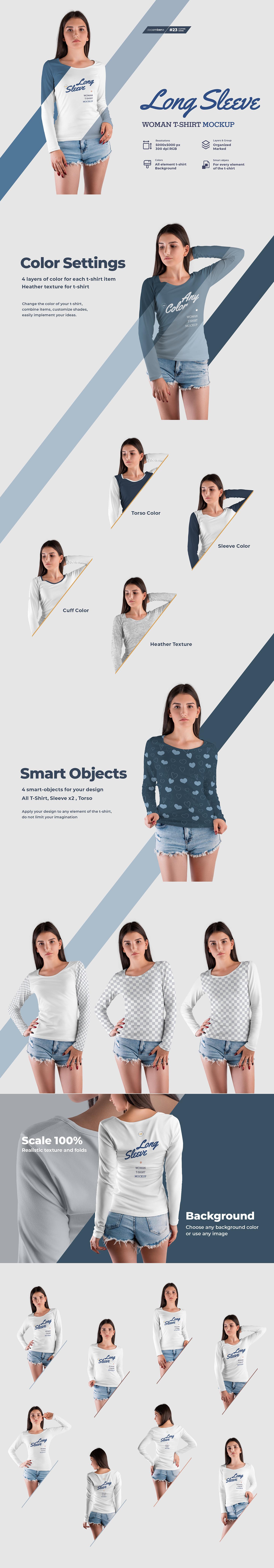 8款长袖女士T恤印花设计PS智能贴图样机 8 Long Sleeve Woman T-Shirt Mockup插图