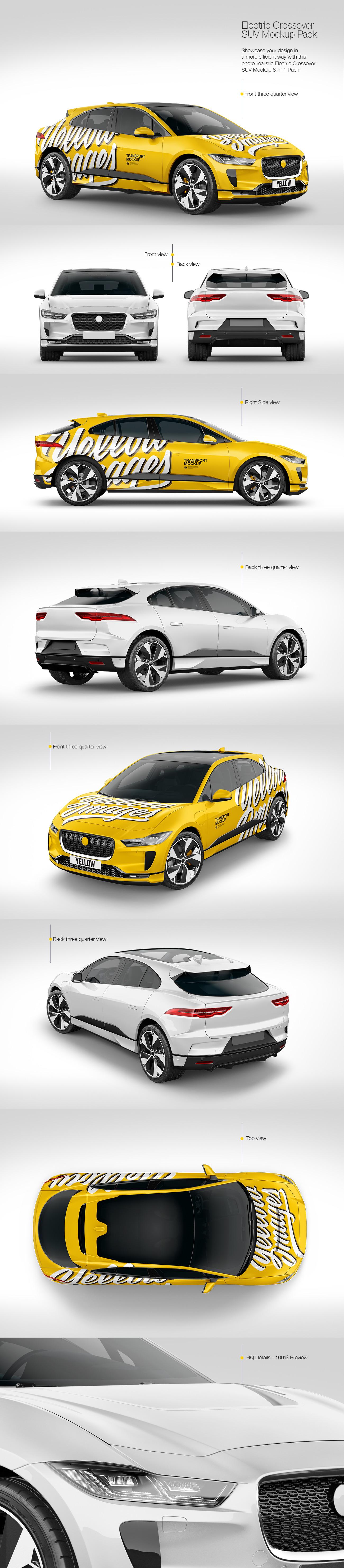 8款两厢小跑车车身广告设计样机素材 Electric Crossover SUV Mockup Pack插图
