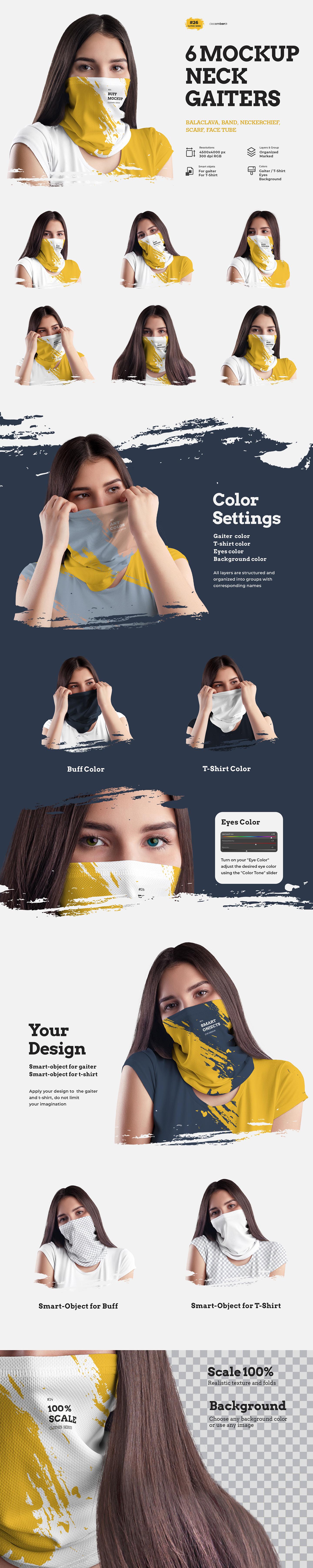 6款防护面罩头巾印花图案设计PS贴图样机 6 Mockups Neck Gaiters插图