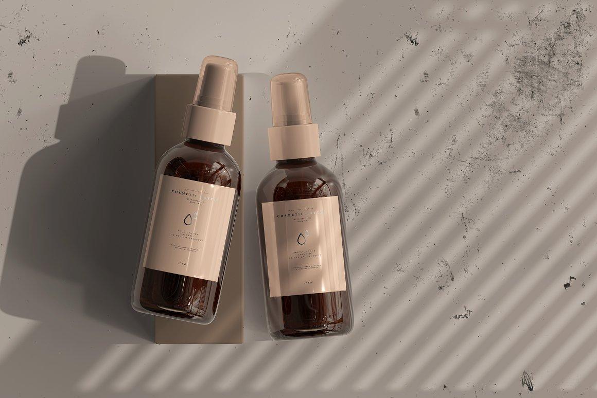 10款琥珀色玻璃化妆品喷雾瓶包装盒设计贴图样机 Amber Cosmetic Spray Bottle Mockup插图4
