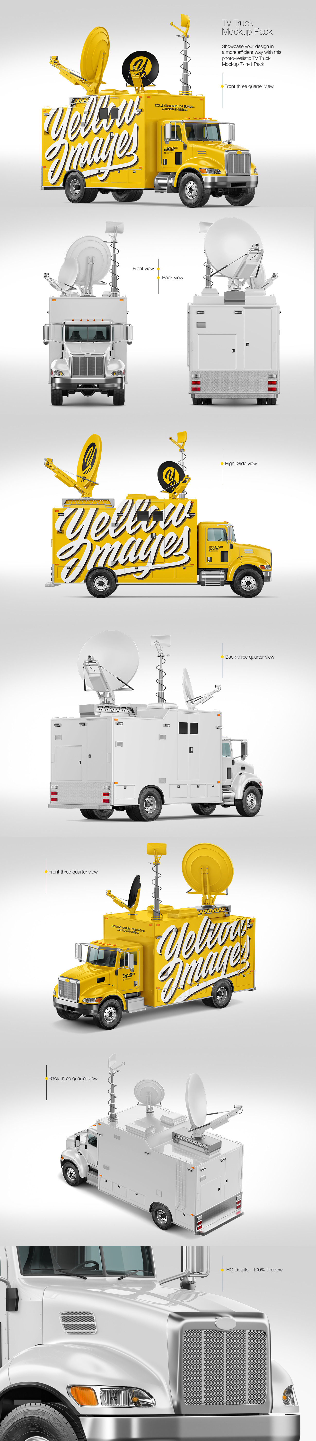 7款电视台采访卡车车身广告设计展示样机 TV Truck Mockup Pack插图