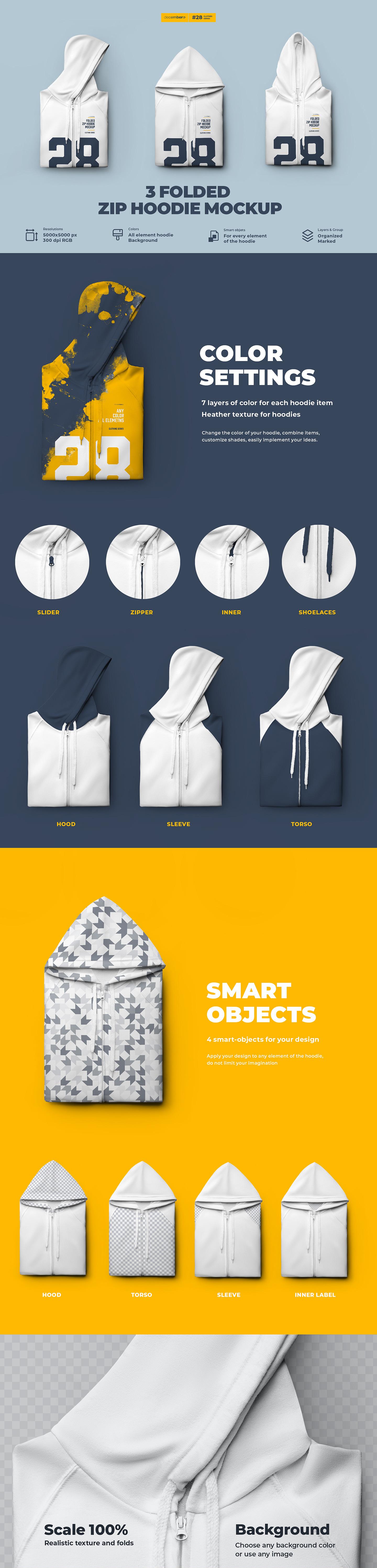 3款折叠拉链连衣帽衫卫衣设计展示样机模板 3 Folded Zip Hoodie Mockup插图