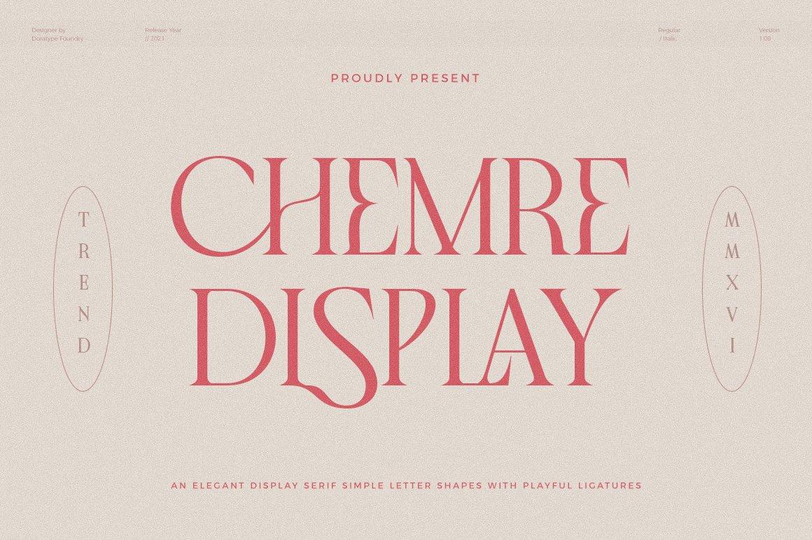 现代优雅品牌徽标Logo海报标题设计衬线英文字体素材 Chemre Font插图18