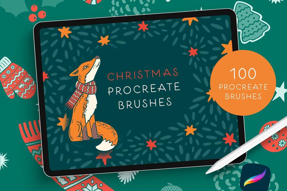 300个点状颗粒花卉动物心形艺术绘画iPad Procreate笔刷字体套装 Procreate Brushes & Font Bundle插图18