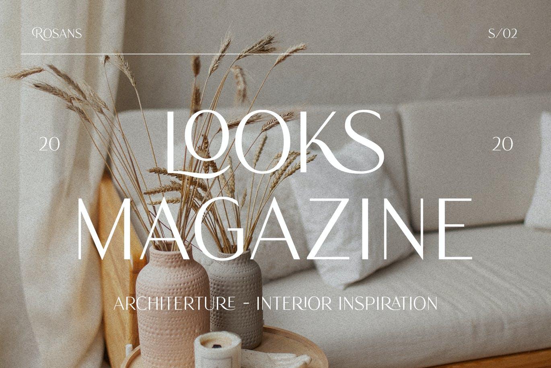 时尚优雅画册杂志标题Logo设计无衬线英文字体素材 Rosans – Font Duo插图2