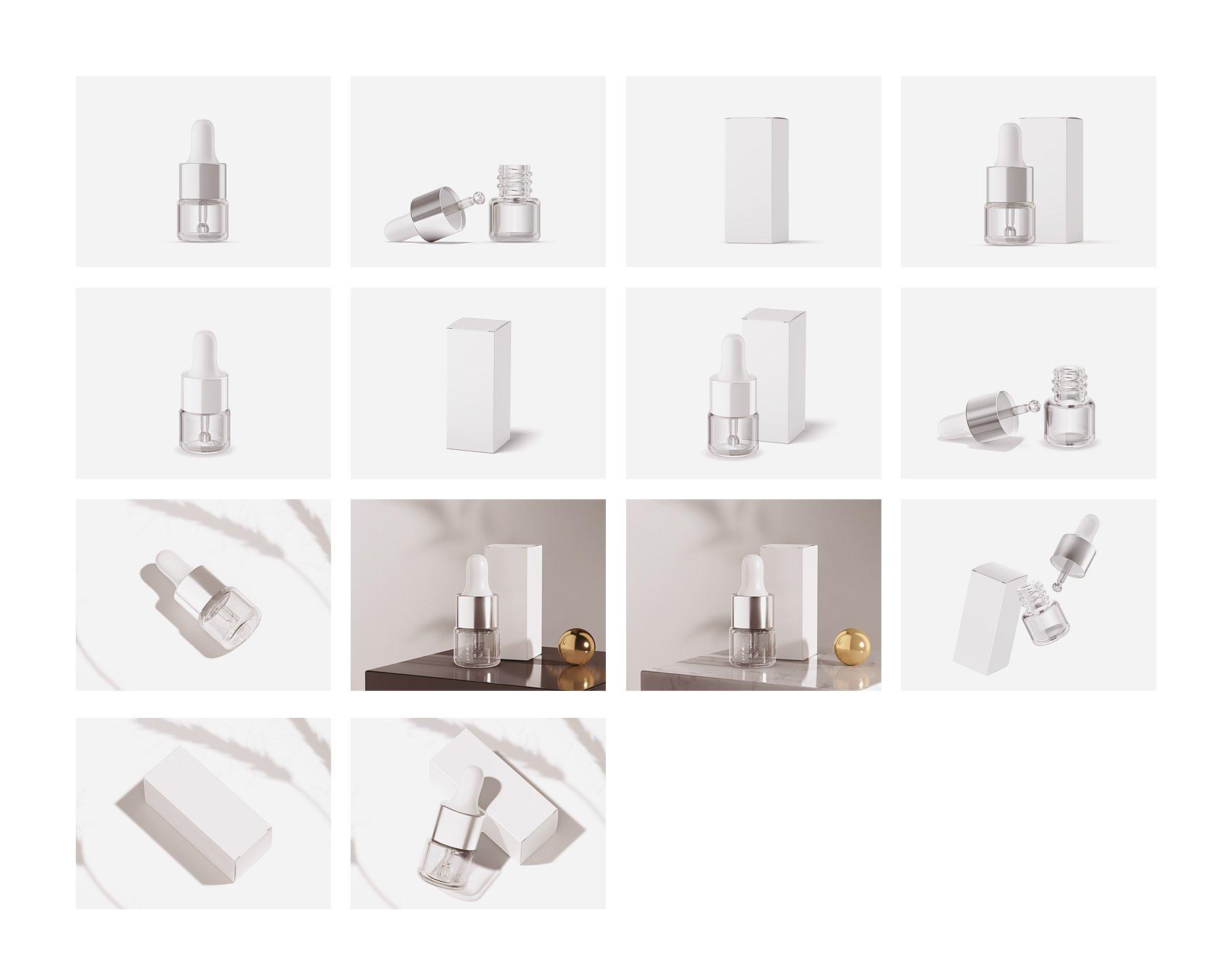 14个透明玻璃滴管瓶标签设计展示贴图样机模板 1ml Clear Glass Bottle Mockup插图1