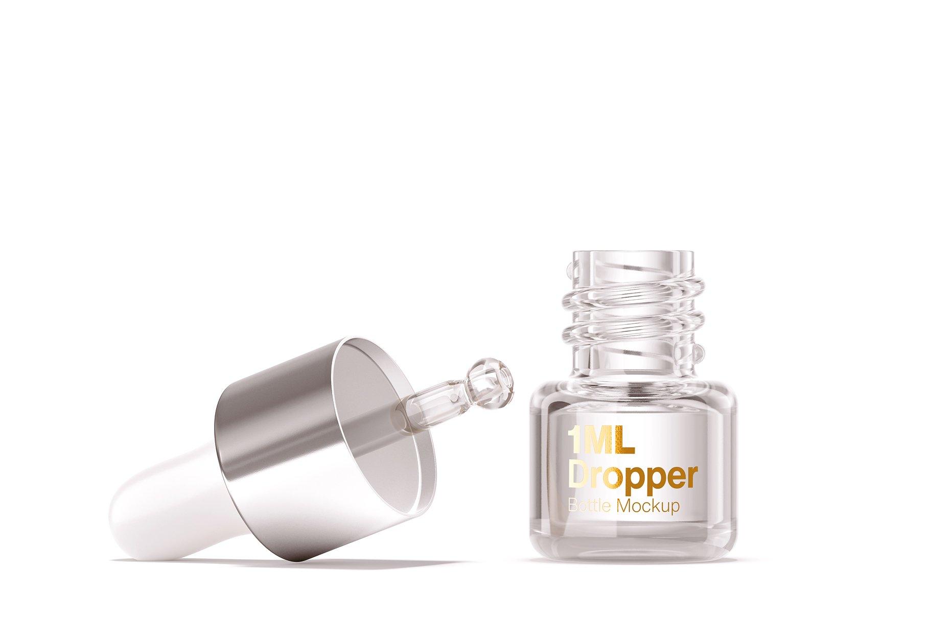 14个透明玻璃滴管瓶标签设计展示贴图样机模板 1ml Clear Glass Bottle Mockup插图4