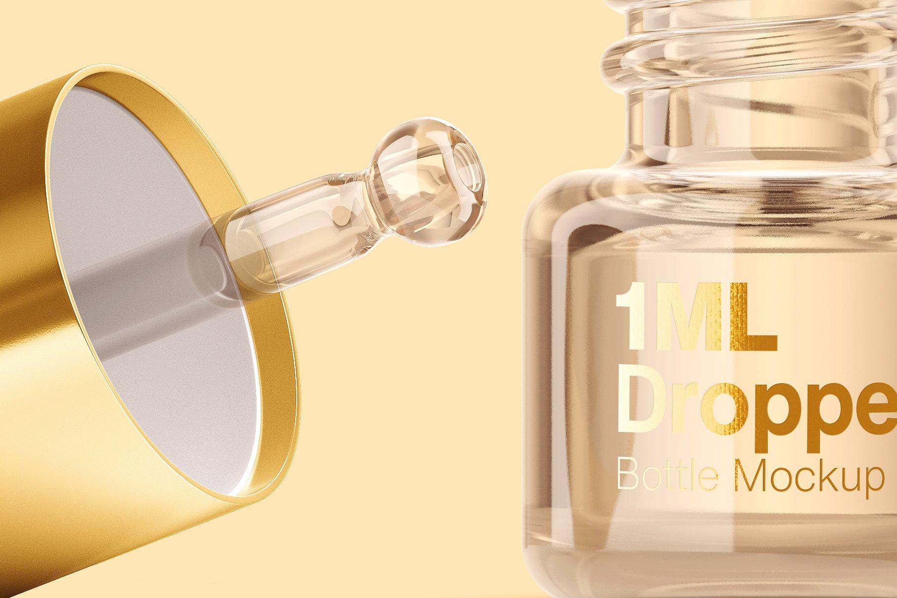 14个透明玻璃滴管瓶标签设计展示贴图样机模板 1ml Clear Glass Bottle Mockup插图6