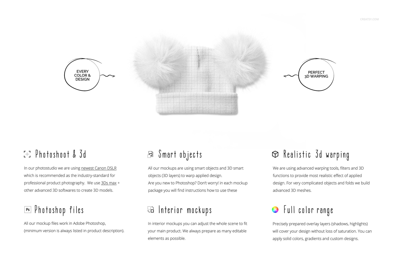 毛绒绒绒儿童毛线无檐小便帽设计展示样机集 Beanie with Fur Pompons Mockup Set插图1