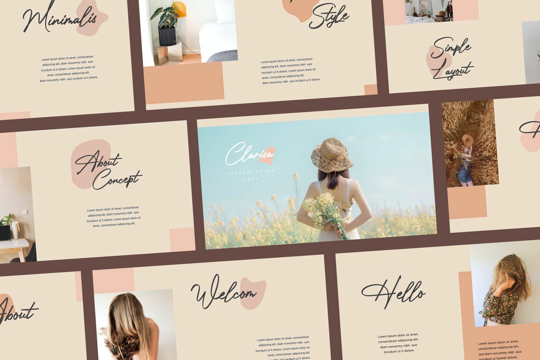 时尚优雅摄影作品集演示幻灯片设计模板 Clarisa Bundle Presentation插图1