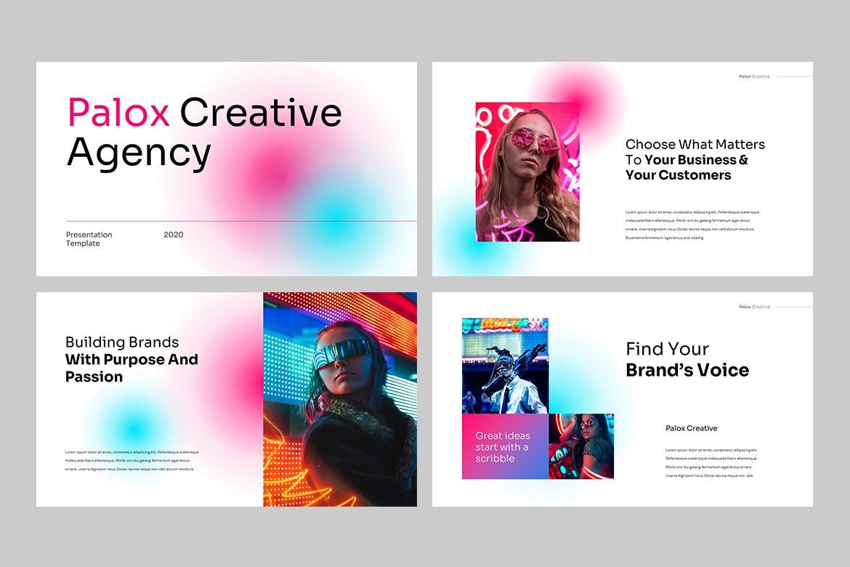 现代炫彩品牌营销策划提报幻灯片设计PPT+Keynote模板素材 PALOX – Creative Agency Powerpoint Template插图1