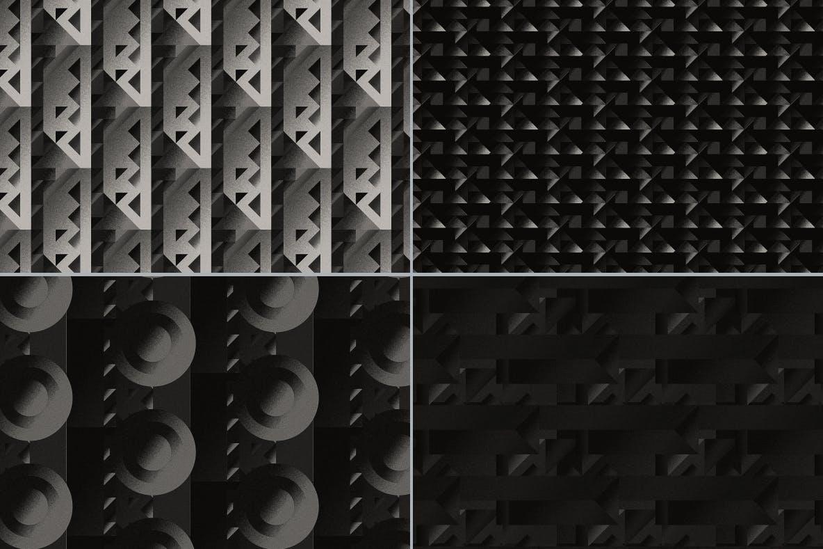 现代暗黑噪点颗粒渐变几何图形无缝隙背景图设计素材 Cubic Dark Patterns插图1