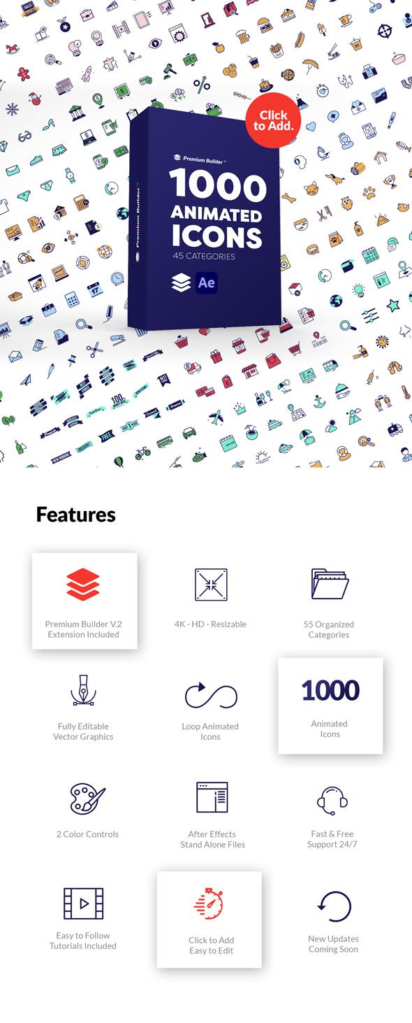 1000组线条ICON图标扁平化MG动画AE视频模板素材 PremiumBuilder Animated Icons插图1