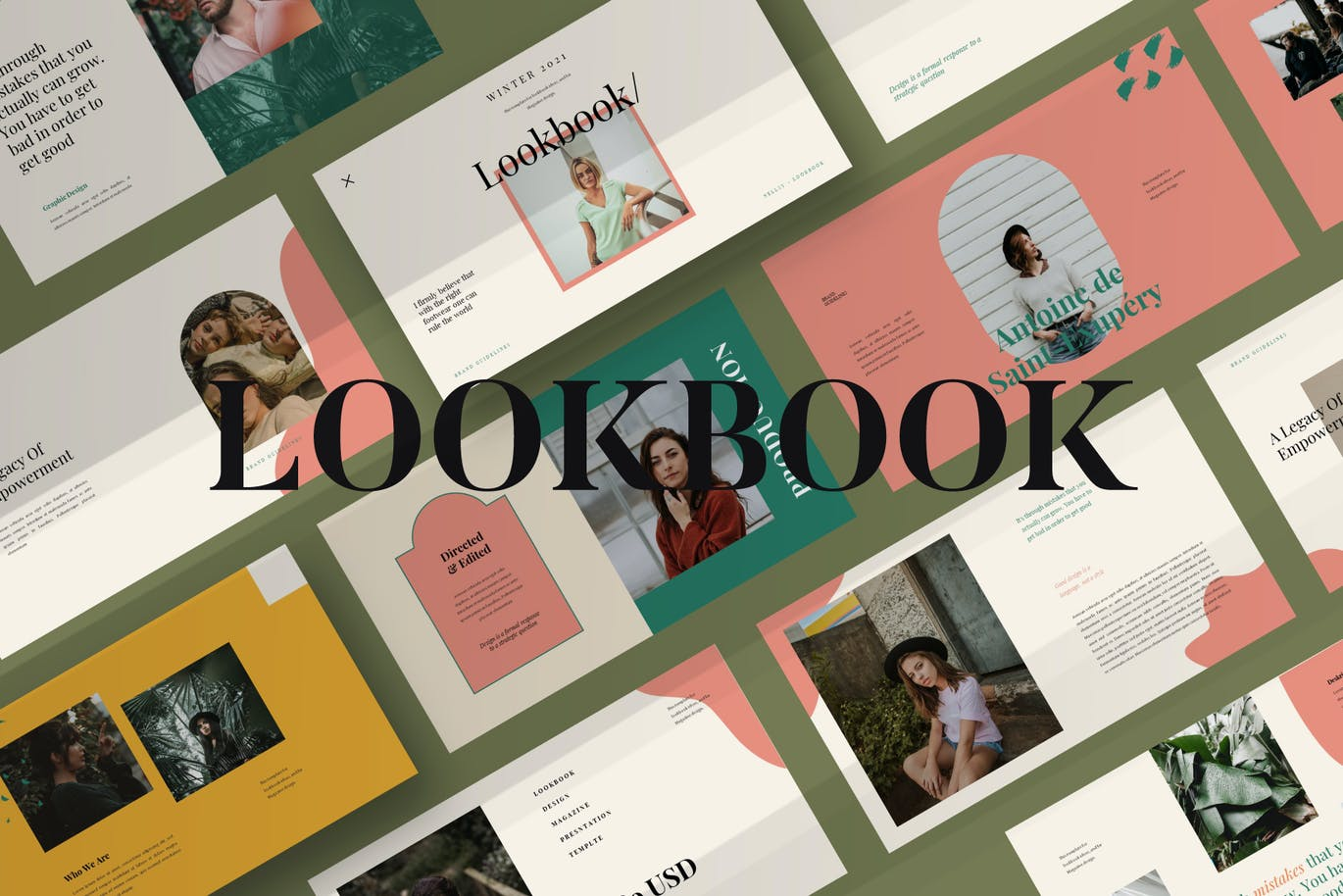 时尚Lookbook风提案简报作品集设计PPT+Keynote模板 Lookbook Powerpoint Template插图3