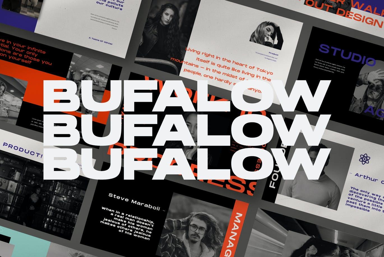 时尚摄影作品集幻灯片设计PPT模板素材 Bufalow Powerpoint Template插图1