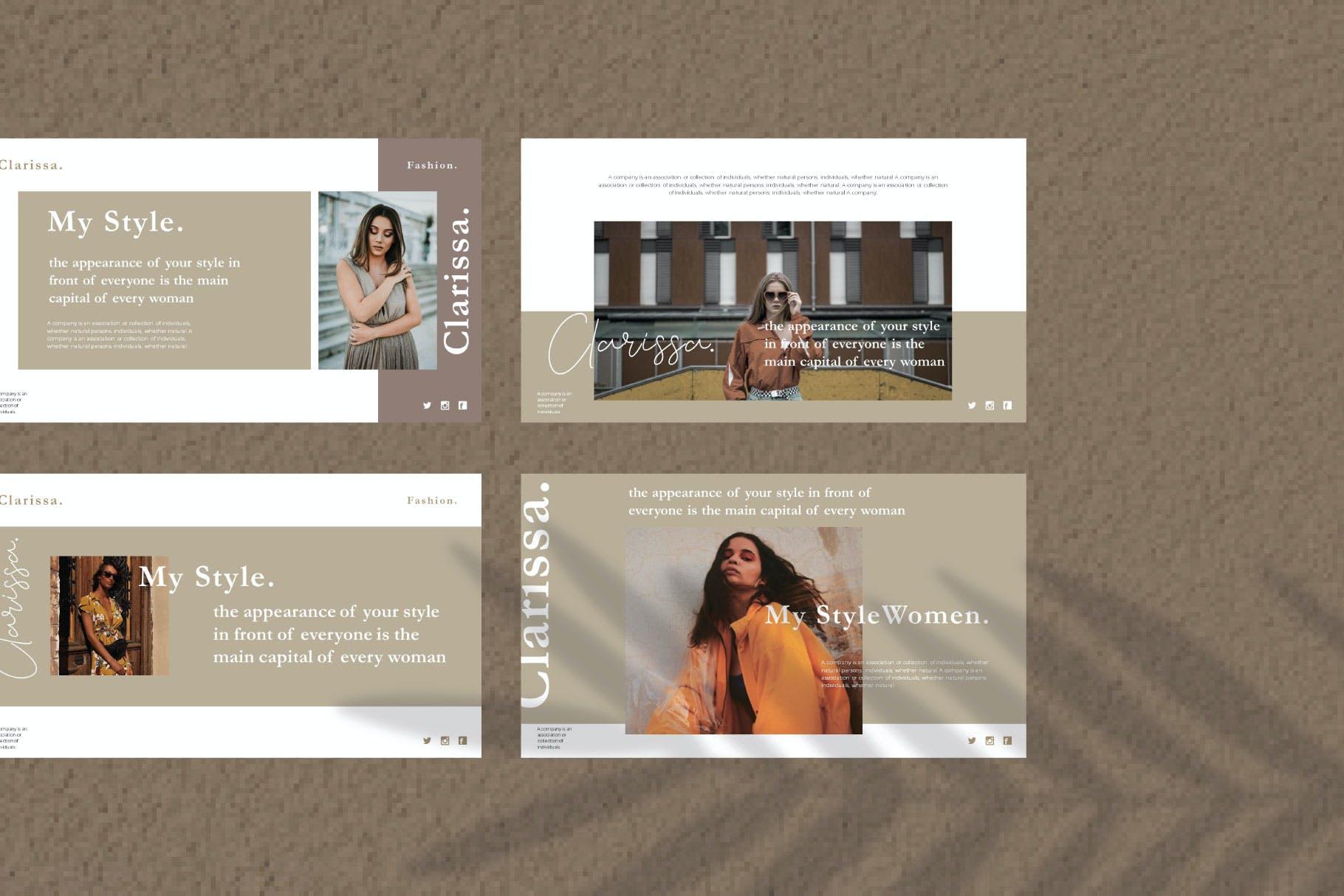 时尚简约摄影作品集图文排版幻灯片设计模板 Clarissa Bundle Presentation插图1