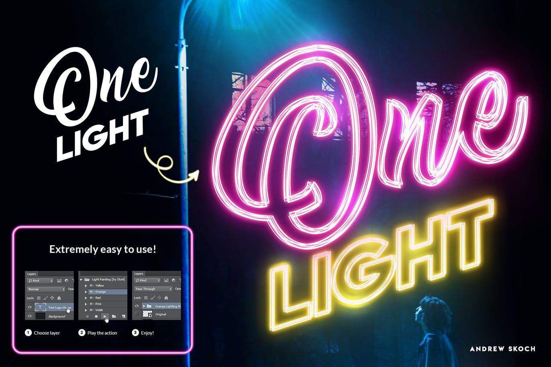 多彩霓虹灯发光效果标题Logo设计PS动作模板素材 Light Painting – Photoshop Action插图1