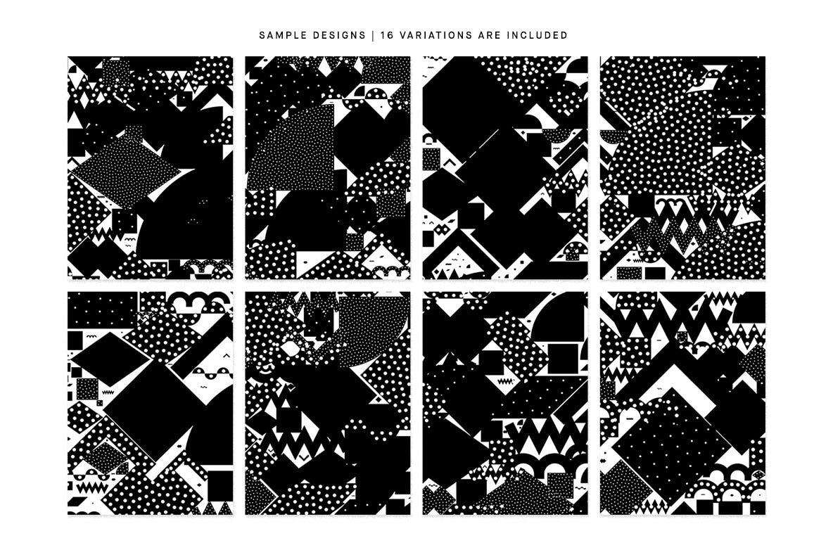 20个抽象几何拼贴矢量背景图片设计素材 Mono Contain – Background Patterns插图1