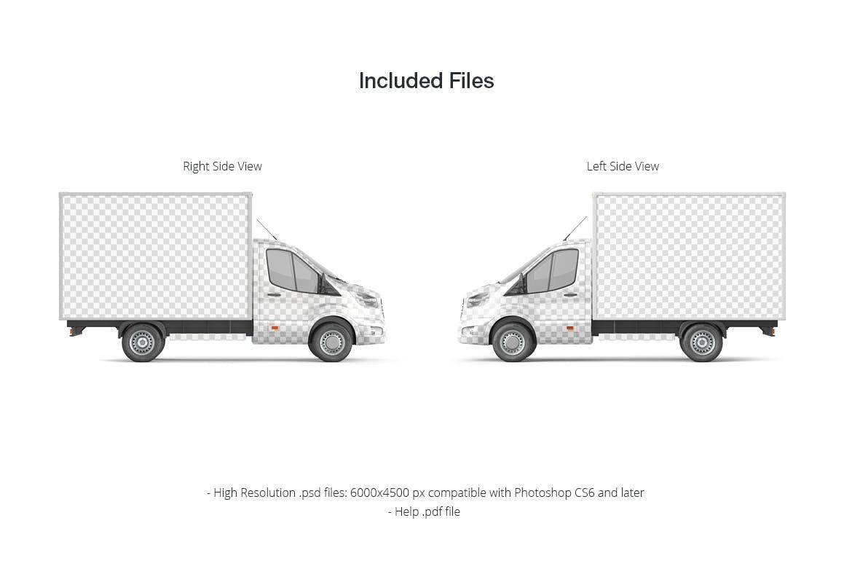 封闭式小货车车厢广告设计贴图样机 Cube Van Mockup 02插图1