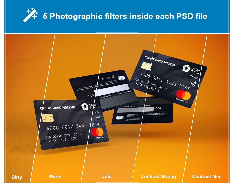 5款逼真银行信用卡卡片设计展示贴图样机素材 Credit Card V.1插图1