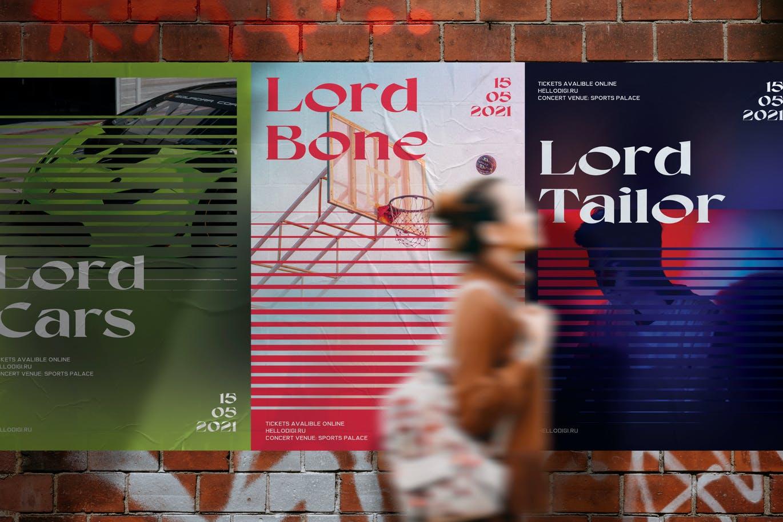 5款时尚潮流褶皱墙贴胶粘海报传单设计展示样机模板 Wall Poster Mockup插图