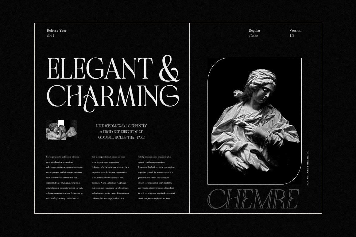 现代优雅品牌徽标Logo海报标题设计衬线英文字体素材 Chemre Font插图1