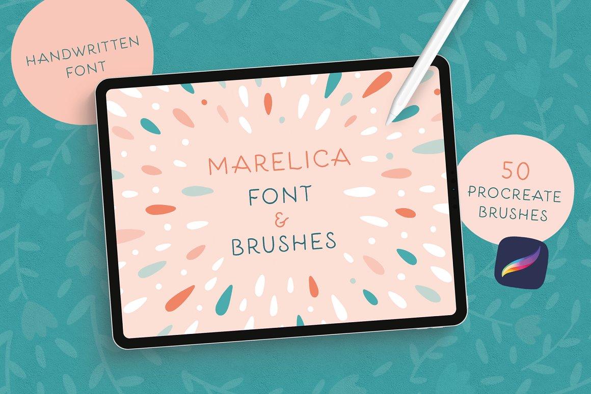 300个点状颗粒花卉动物心形艺术绘画iPad Procreate笔刷字体套装 Procreate Brushes & Font Bundle插图1