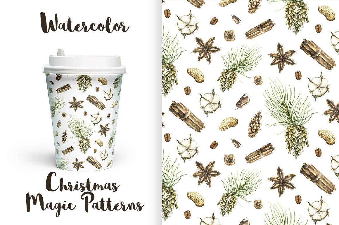19个圣诞节主题松枝鹿角手绘剪贴画JPG图片素材 Watercolor Christmas Magic Patterns插图1