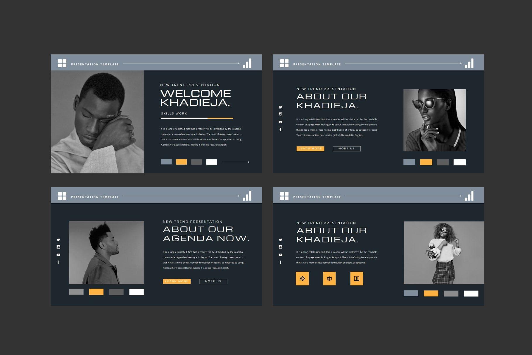 潮流品牌策划提案简报作品集设计演示文稿模板 KHADIEJA Powerpoint Template插图1