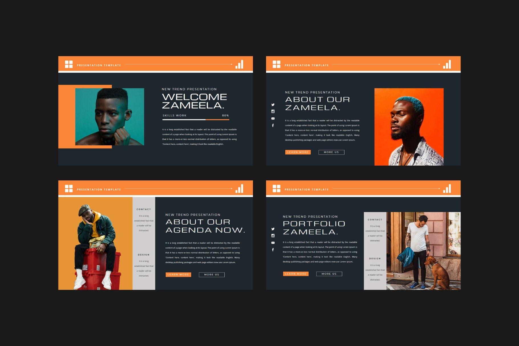 潮流品牌服装摄影作品集演示文稿设计模板 ZAMEELA Powerpoint Template插图1