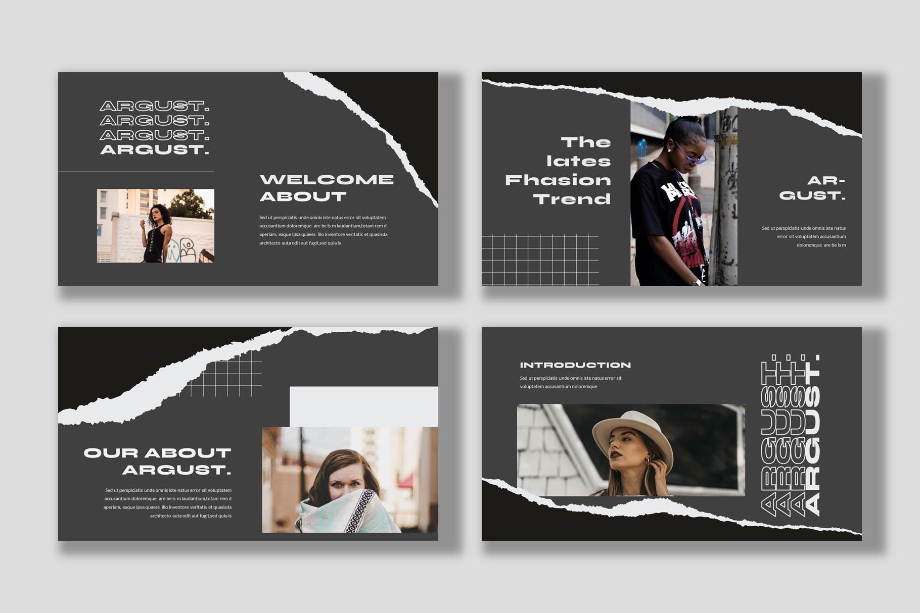 潮流撕纸效果品牌策划提案简报演示文稿设计模板 Argust Powerpoint Template插图1