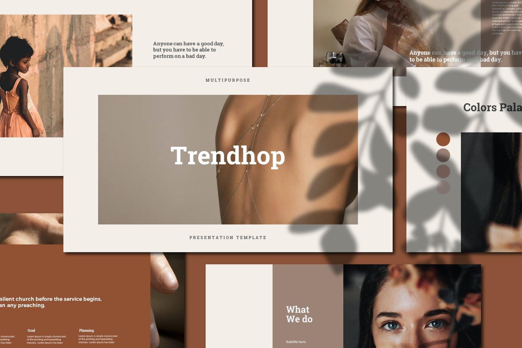 时尚奢华女性服装摄影作品集演示文稿模版 Trendhop Powerpoint Template插图1