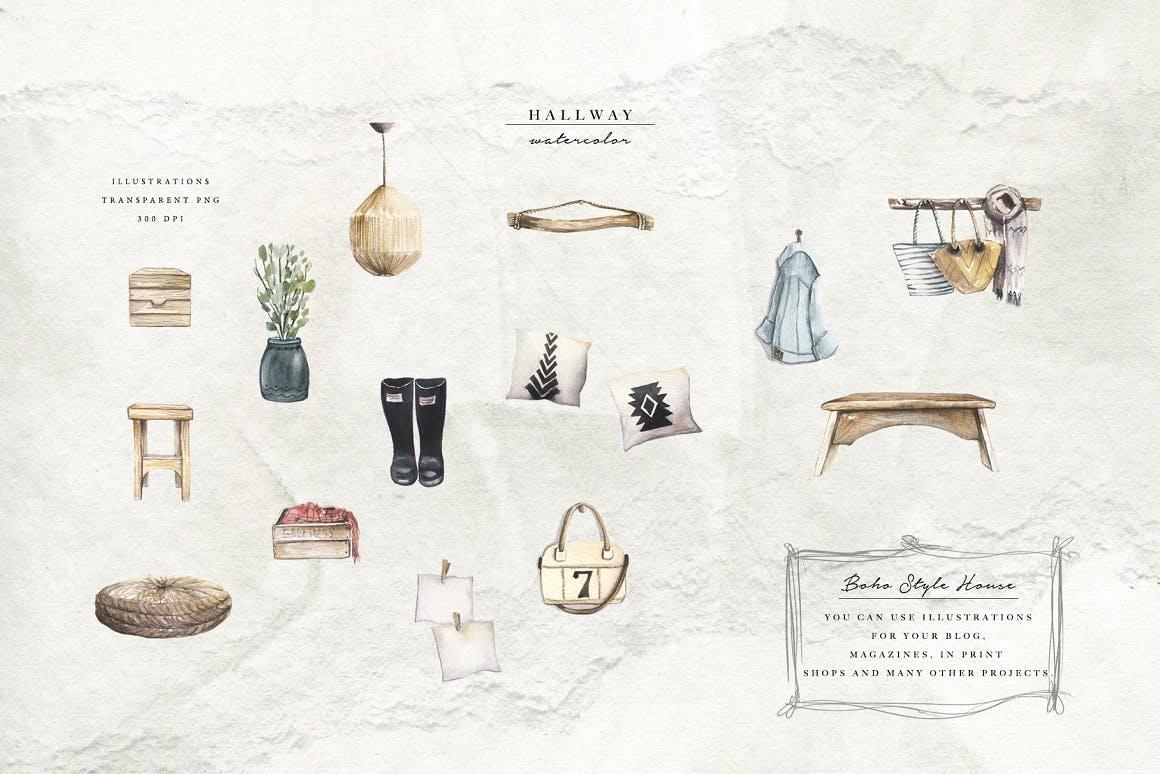清新波西米亚风室内家具手绘水彩画PNG免抠图片素材 Watercolor Cozy Home插图1