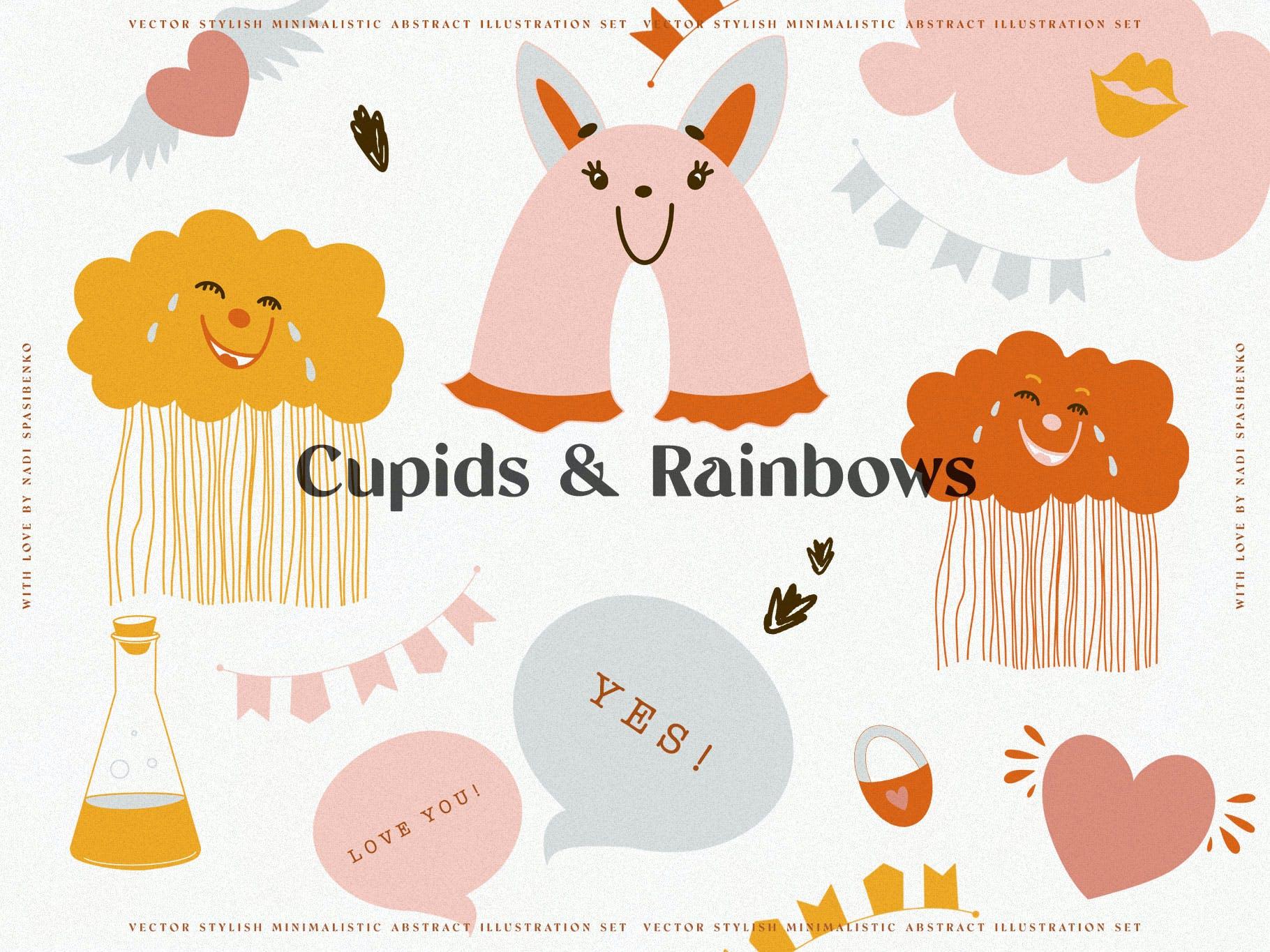 时尚抽象可爱卡通彩虹丘比特元素手绘插画矢量设计素材 Cupids & Cute Rainbows插图1