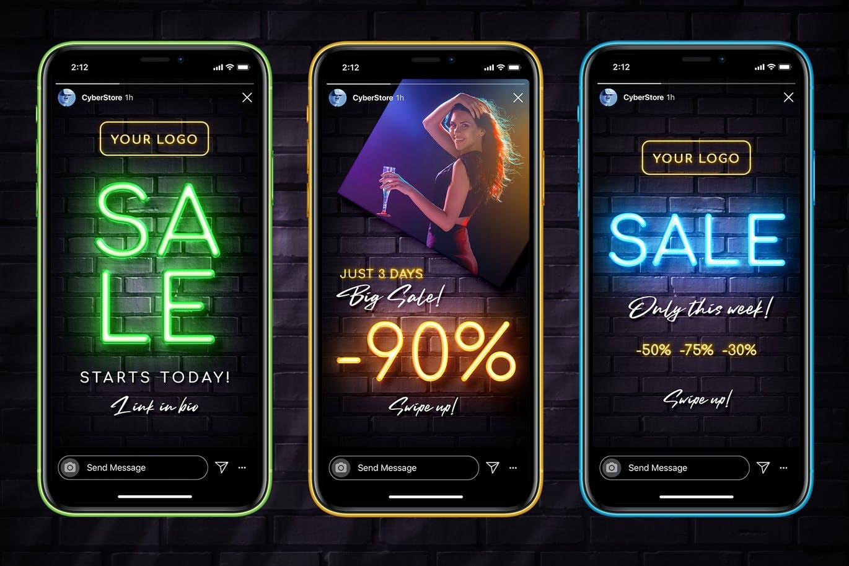 炫酷创意霓虹灯效果品牌推广新媒体电商海报模板 Neon Sale Instagram Stories插图1