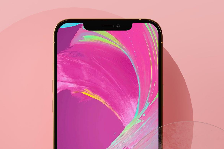 全新粉色背景APP界面设计iPhone 12手机屏幕演示样机 iPhone 12 Pink Scene Mockup插图1